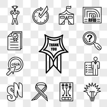 Set Of 13 transparent icons such as thankyou, lumen, , multiple sclerosis, sn, roles and responsibilities, click me, problem statement, web ui editable icon pack, transparency set