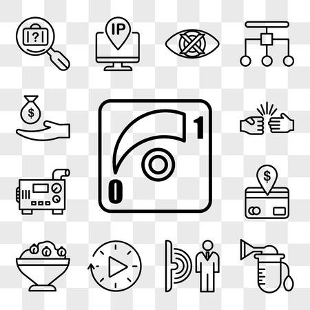 Set Of 13 transparent icons such as dimmer, breast pump, motion sensor, downtime, hummus, direct debit, diesel generator, rock paper scissors, web ui editable icon pack, transparency set