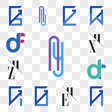 Set Of 13 transparent editable icons such as Ay or yA Letter, GN, NG, EH, HE, GO, OG, GI, IG, dr, rd, ZH, HZ, XH, HX, df, fd, web ui icon pack, transparency set Illusztráció