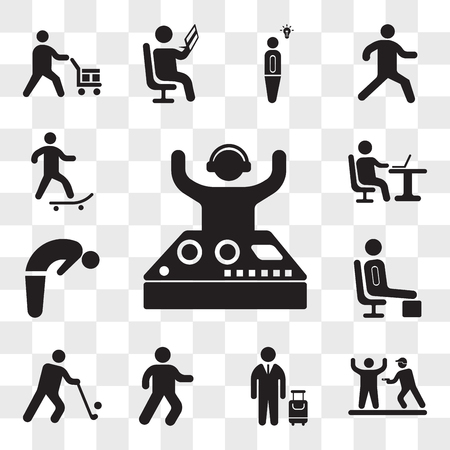 Set Of 13 transparent icons such as Party Dj, Police Arrest, Traveler with a suitcase, Man walking, Golfer, Resting, Backbend, Working laptop, web ui editable icon pack, transparency set