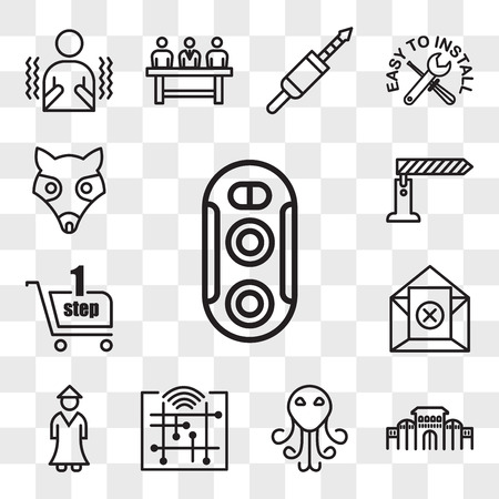 Set Of 13 transparent editable icons such as dual camera, shaniwar wada, cthulhu, digitalisation, sensei, unsubscribe, one stop shop, toll booth, possum, web ui icon pack, transparency set Illusztráció
