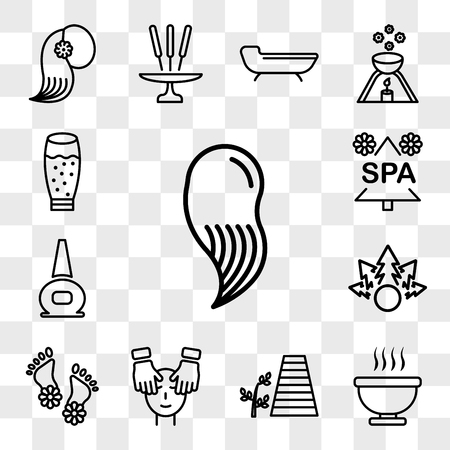 Set Of 13 transparent icons such as hair spa, Bath of immersion, walkway and a plant, Spa facial treatment with mask massages, Flowers on human feet, web ui editable icon pack, transparency