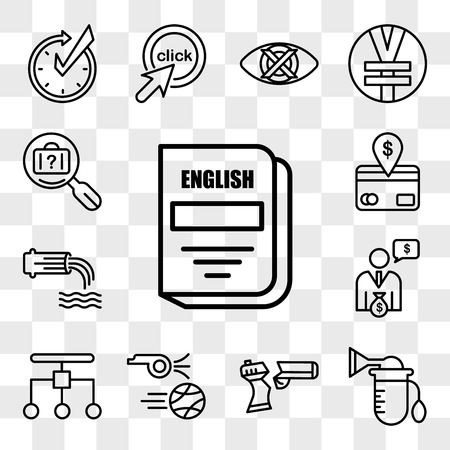 Set Of 13 transparent icons such as english subject, breast pump, broken gun, kickoff, restructuring, cfo, wastewater, direct debit, web ui editable icon pack, transparency set
