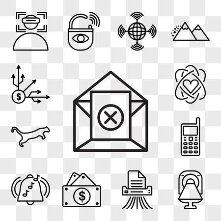 Set van 13 transparante bewerkbare pictogrammen zoals uitschrijven, ct, shding, kapitaaluitgaven, ringtone, gsm, cougar, kernwaarde, diversificatie, web ui icon pack, transparantiereeks