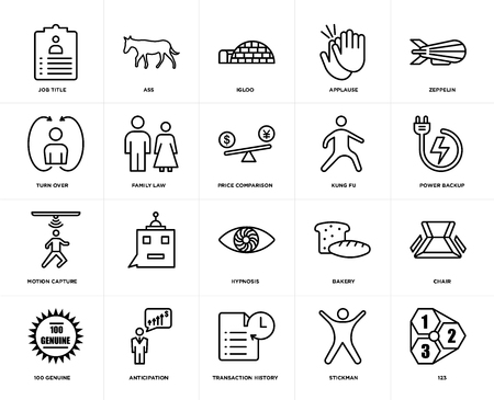 Set Of 20 icons such as 123, stickman, transaction history, anticipation, 100 genuine, zeppelin, kung fu, hypnosis, motion capture, family law, igloo, web UI editable icon pack, pixel perfect