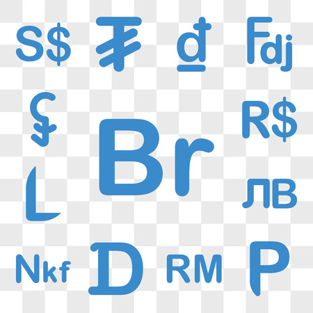 Set Of 13 transparent icons such as Ethiopia currency, Botswana Malaysia Gambia Eritrea Kyrgyzstan web ui editable icon pack, transparency