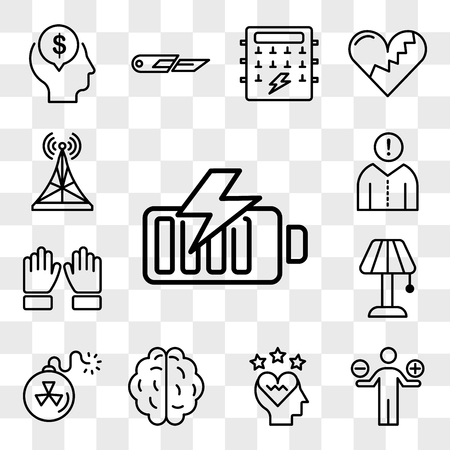 Set Of 13 transparent editable icons such as Battery, Analytics, Love, Brain, Bomb, Lamp, Hand, Think, Antenna, web ui icon pack, transparency set Vector Illustratie