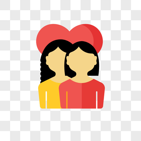 Girlfriends vector icon isolated on transparent background, Girlfriends logo concept Illustration
