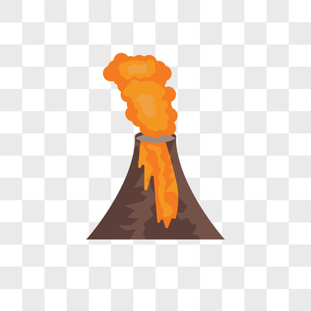 Volcano vector icon isolated on transparent background, Volcano logo concept
