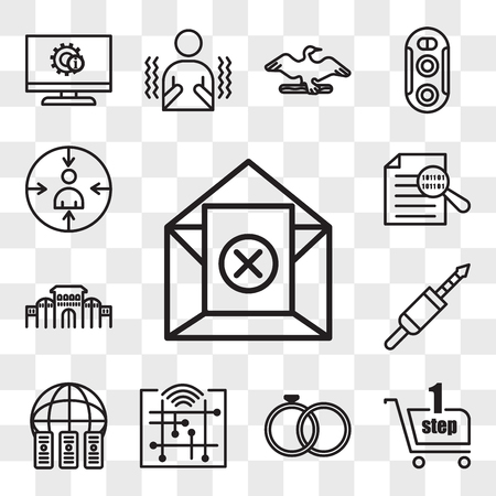 Set Of 13 transparent icons such as unsubscribe, one stop shop, marital status, digitalisation, colocation, 3.5 mm jack, shaniwar wada, data integrity, web ui editable icon pack, transparency set Stock Illustratie