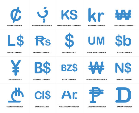 Set Of 20 simple editable icons such as Bolivia currency, Madagascar Cayman Islands, Liberia Chile web UI icon pack, pixel perfect