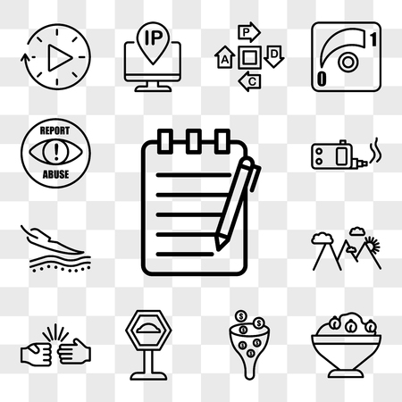 Set Of 13 transparent icons such as essay writing, hummus, sales pipeline, speed bump, rock paper scissors, hill station, sensitive skin, ecig, web ui editable icon pack, transparency set Illustration