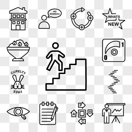 Set van 13 transparante bewerkbare pictogrammen zoals trappenhuis, expo, pdca, essay schrijven, onze visie, wenteltrap, dierproefvrij, dimmer, hummus, web ui icon pack, transparantieset Vector Illustratie
