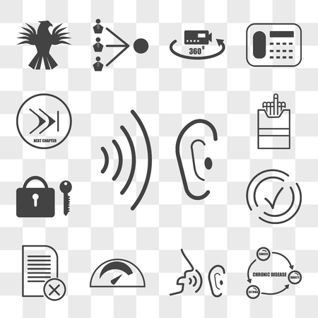 Set Of 13 transparent editable icons such as whisper, chronic disease, mileage, paperless, compliant, amenities, cigarette pack, chapter, web ui icon transparency set Vettoriali
