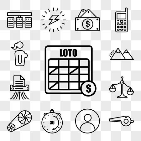 Set Of 13 transparent editable icons such as loto, whistle, profile pic, 30 minutes, flywheel, unbalanced scale, shding, avalanche, naked lady, web ui icon pack, transparency set