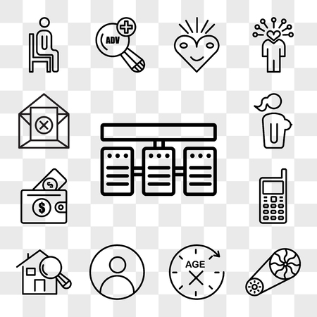 Set Of 13 transparent icons such as server stack, flywheel, anti aging, profile pic, home inspector, handphone, affordability, naked lady, web ui editable icon pack, transparency set Stock Illustratie