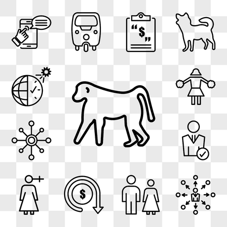 Set Of 13 transparent icons such as baboon, self management, family law, lowest price, woman gender, user, multichannel, cheerleading, web ui editable icon pack, transparency set