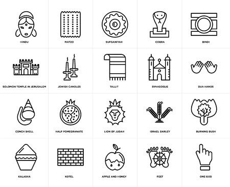 Conjunto de 20 iconos como One God, Feet, Apple and Honey, Kotel, Kalasha, Bindi, Synagogue, Lion of Judah, Conch shell, Jewish Candles, Sufganiyah, web UI editable icon pack, pixel perfect