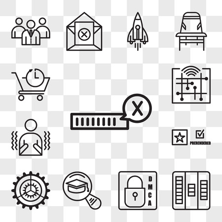 Set Of 13 transparent editable icons such as unconfirmed, kanban, dmca, most read, settings, prerende, shivering, digitalisation, pre order, web ui icon pack, transparency set