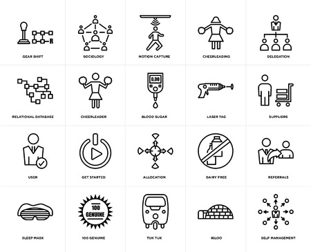 Set Of 20 simple editable icons such as self management, suppliers, delegation, cheerleading, sleep mask, sociology, dairy free, relational database, web UI icon pack, pixel perfect Illustration