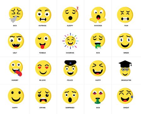 Conjunto de 20 iconos como sudor, enfermo, sorprendido, llorando, feliz, dolor, policía, hambriento, lengua, soñoliento, paquete de iconos editables de la interfaz de usuario web, píxel perfecto Ilustración de vector