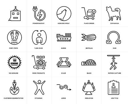 Satz von 20 einfachen bearbeitbaren Symbolen wie Jobtitel, Ohm, Chihuahua, Bestellung aufgeben, Kundensegmentierung, Stromsicherung, Iglu, erste Schritte, Web-UI-Symbolpaket, Pixelperfekt