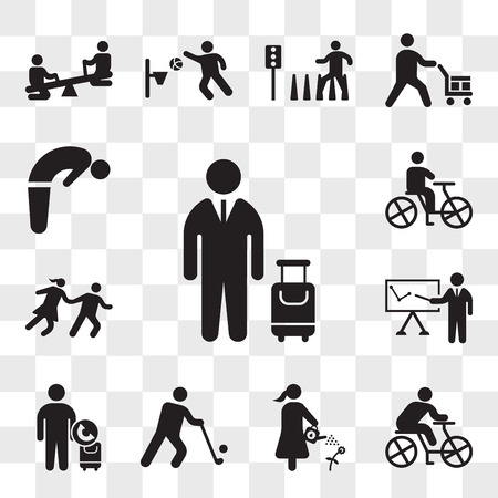 Set Of 13 transparent icons such as Traveler with a suitcase, Cyclist, Man watering plant, Golfer, Call taxi, Business presentation, Couple Running, web ui editable icon pack, transparency set Illustration