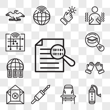 Set Of 13 transparent editable icons such as data integrity, gaz, Desk chair, 3.5 mm jack, unsubscribe, dua, colocation, most read, digitalisation, web ui icon pack, transparency set Illustration