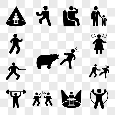 Set Of 13 transparent icons such as Bear attacking, Jumping, Show presenter, Sound Wave Experiment, Man doing exercises, Punching someone, web ui editable icon pack, transparency