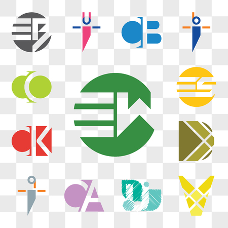 Set Of 13 transparent editable icons such as EW WE, V Letter, CA AC, qi iq, D CK KC, ES SE, CO OC, web ui icon pack, transparency set