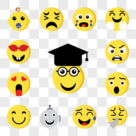 Set Of 13 transparent editable icons such as Graduated, Sick, Sweat, Robot, Happy, Surprised, In love, Angry, Nerd, web ui icon pack, transparency set