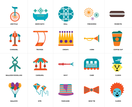 Set Of 20 icons such as Clown, Bow tie, Pancakes, Kite, Balloon, Moon pie, Horn, Whip, Balloon modelling, Trapeze, Ball, web UI editable icon pack, pixel perfect Çizim