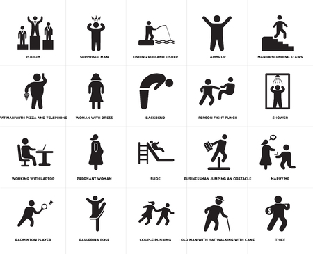 Set Of 20 simple editable icons such as Shower, Couple Running, Ballerina pose, Fat Man With Pizza and Telephone, Backbend, web UI icon pack, pixel perfect