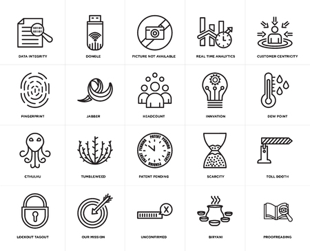 Set Of 20 simple editable icons such as proofreading, dew point, customer centricity, real time analytics, lockout tagout, dongle, scarcity, fingerprint, web UI icon pack, pixel perfect 向量圖像