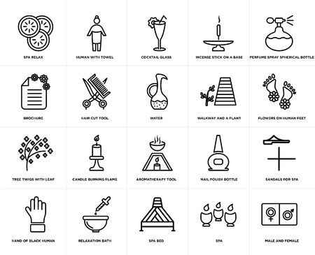 Set Of 20 simple editable icons such as Flowers on human feet, spa bed, Relaxation bath, brochure, water, web UI icon pack, pixel perfect Ilustração Vetorial
