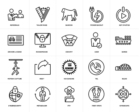 Set Of 20 icons such as gyroscope, first steps, ftp, metabolism, cybersecurity, get started, user, 100 genuine, motion capture, ransomware, baboon, web UI editable icon pack, pixel perfect
