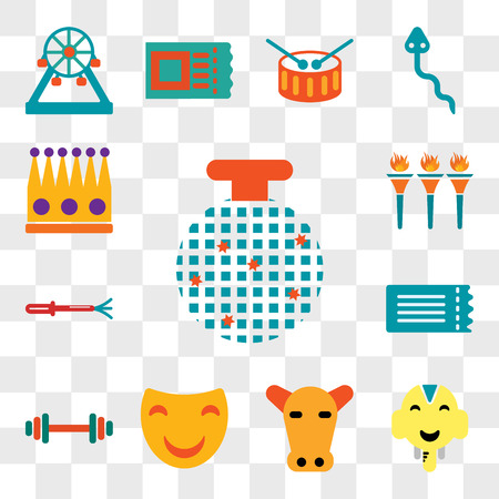 Set Of 13 transparent editable icons such as Disco ball, Elephant, Beef, Mask, Strongman, Ticket, Whip, Flambeaux, Crown, web ui icon pack, transparency set Stock Illustratie