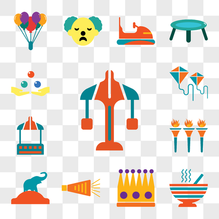 Set Of 13 transparent editable icons such as Carousel, Peas, Crown, Noisemaker, Elephant, Flambeaux, Stall, Kite, Juggling, web ui icon pack, transparency set
