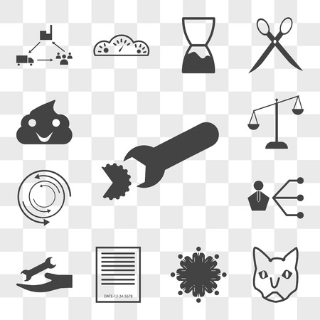 Set Of 13 transparent editable icons such as breach, siamese cat, employee engagement, expiration date, , third party, torque, leverage, bullshit, web ui icon pack, transparency set