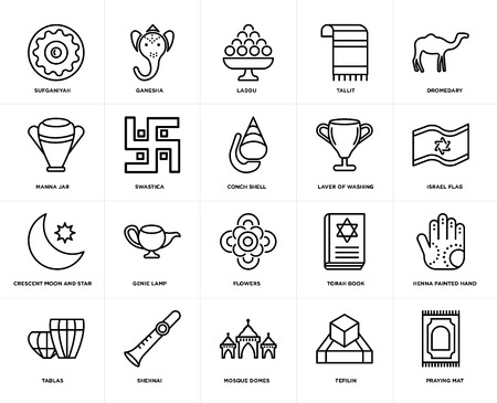 Set van 20 eenvoudige bewerkbare pictogrammen zoals Praying Mat, Israel Flag, Dromedary, Tallit, Tablas, Ganesha, Torah Book, Manna Jar, web UI icon pack, pixel perfect
