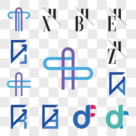 Set Of 13 transparent editable icons such as AS or SA Letter, dr, rd, df, fd, GD, DG, GR, RG, GV, VG, AC CA ZH, HZ, GJ, JG, web ui icon pack, transparency set Vektoros illusztráció