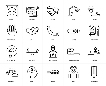 Set Of 20 icons such as Light bulb, Love, Wires, Mind, Rainbow, Plug, Pliers, Electrician, Electricity, Hand, Storm, web UI editable icon pack, pixel perfect Standard-Bild - 111893567