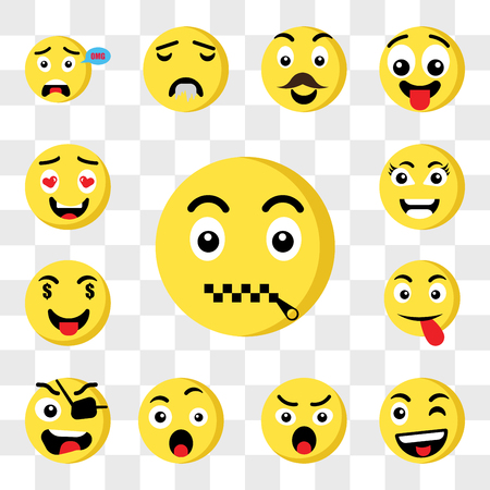 Set Of 13 transparent icons such as Muted emoji, Wink Angry Surprised Pirate Tongue Rich Smart web ui editable icon pack, transparency set Illustration