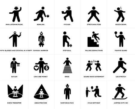 Set Of 20 simple editable icons such as Bowling, Child Birthday, Knock Down, Abducted Man, Show presenter, Leg stretch, Samurai Warrior, web UI icon pack, pixel perfect