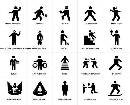 Set van 20 eenvoudige bewerkbare pictogrammen zoals Bowling, Kindverjaardag, Knock Down, Ontvoerde Man, Showpresentator, Beenstrekking, Samurai Warrior, web UI icon pack, pixel perfect Vector Illustratie