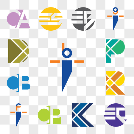 Set Of 13 transparent editable icons such as bi ib, EQ QE, K Letter, CP PC, fi if, R CB BC, P D web ui icon pack, transparency set