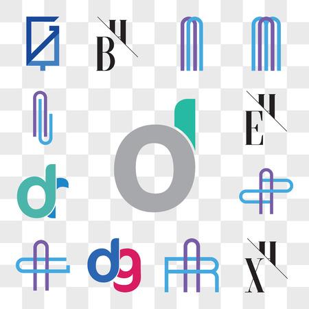 Set Of 13 transparent editable icons such as d, oi, do, XH, HX, AR or RA Letter, dg, gd, AG GA AZ ZA dr, rd, EH, HE, Al lA web ui icon pack, transparency set Ilustração
