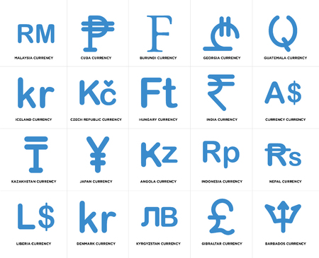 Set Of 20 simple editable icons such as Currency currency, Kyrgyzstan Denmark Iceland Hungary web UI icon pack, pixel perfect
