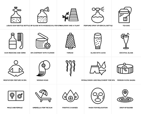 Set Of 20 simple editable icons such as Cocktail glass, positive charges, Umbrella for the sun, hair medicine and comb, thread, web UI icon pack, pixel perfect Illustration