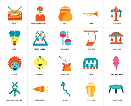 Set Of 20 icons such as Trampoline, Popcorn, Snake, Noisemaker, Balloon modelling, Carousel, Trapeze, Magician, Clown, Ferris wheel, Semla, web UI editable icon pack, pixel perfect
